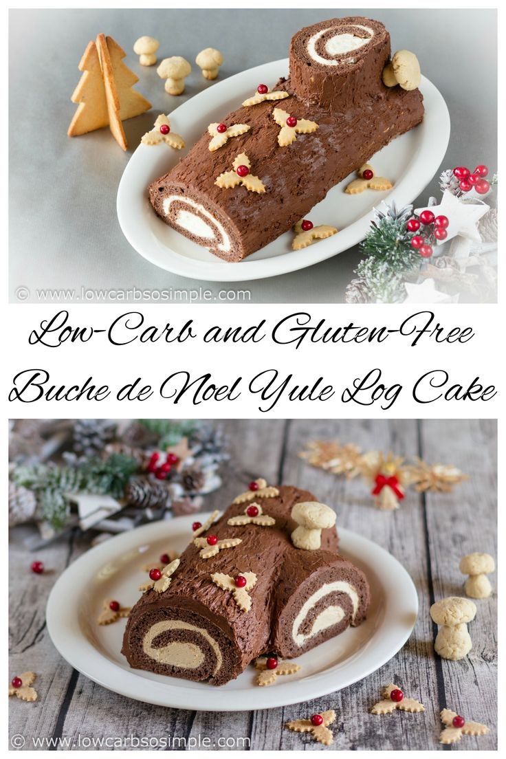 A Buche de Noel yule log cake that is both low carb and gluten free. So delicious, holiday guests will never know it's a sugar free low carb dessert! Keto THM Atkins Recipe
