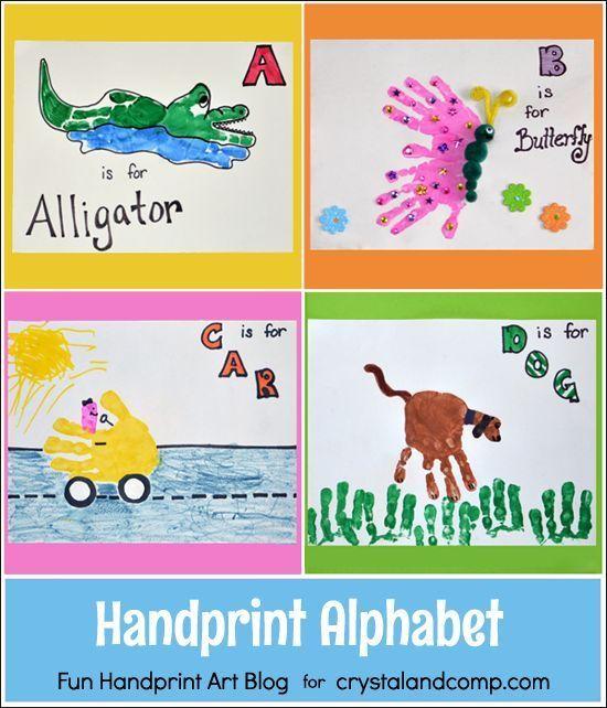 Handprint Alphabet - Letters A, B, C, & D - Fun Handprint Art