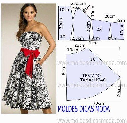 Passo a passo construção molde de vestido. O molde de vestido encontra-se no tamanho 40. A ilustração do molde de vestido não tem valor de costura.
