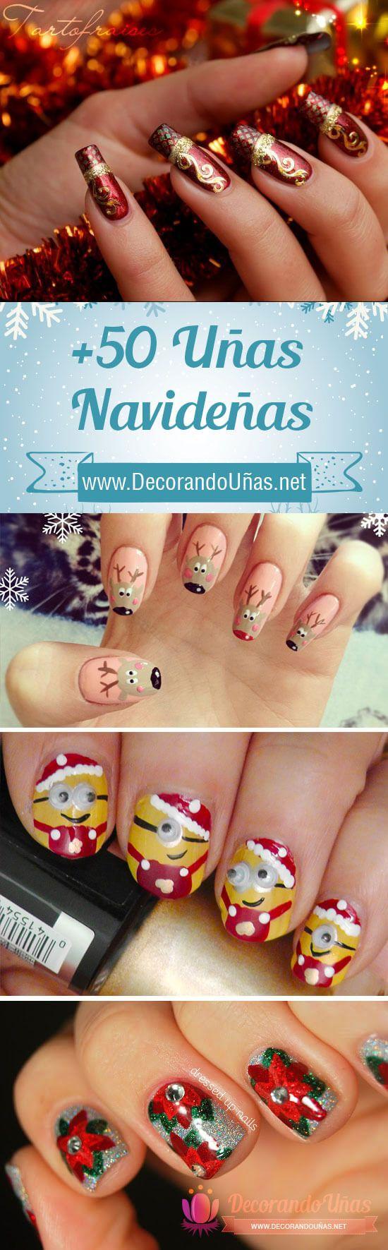 Uñas de Navidad – 50 excelentes ideas | Decoración de Uñas - Nail Art - Uñas decoradas