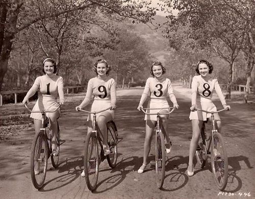 Carole Parker, Lola Jensen, Joyce Mathews and Alma Ross ride bikes. In 1938.