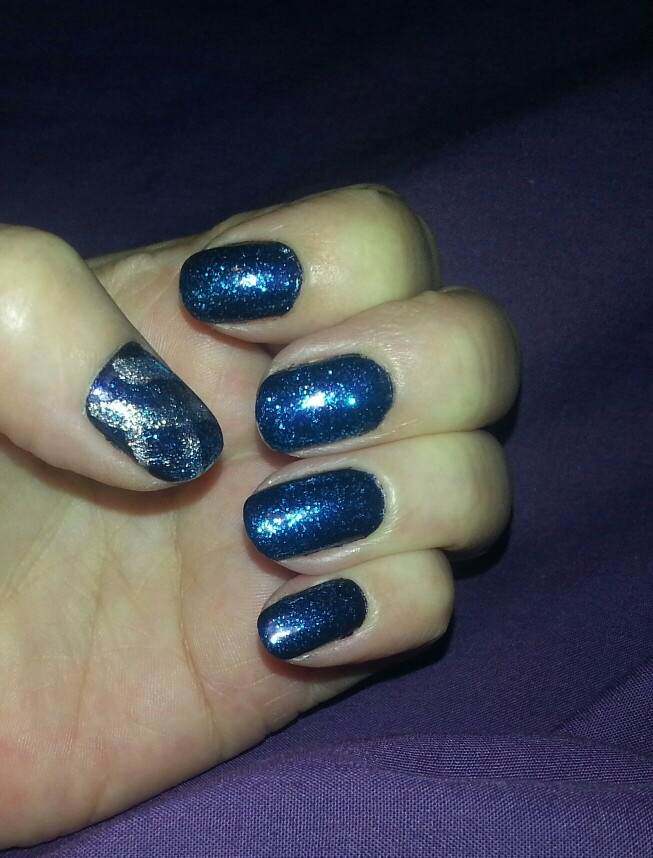 Dk blue with blue sparkle topcoat