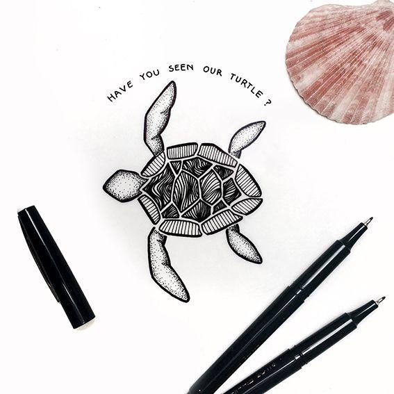 Turtle Illustration . . . #turtle #illustration #art #drawing #sketch #dotted #dots #texture #animal #sea #shell #design #designer #creative #art #artist #photography