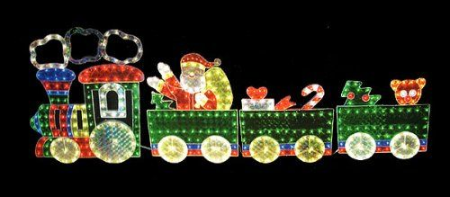 Holographic Lighted 4-Piece Motion Train Set Christmas Yard Art
