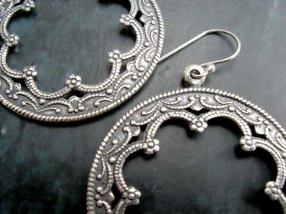 Gypsy Bohemian ornate Silver Hoop earrings Bohemian Jewelry on Etsy, $20.00
