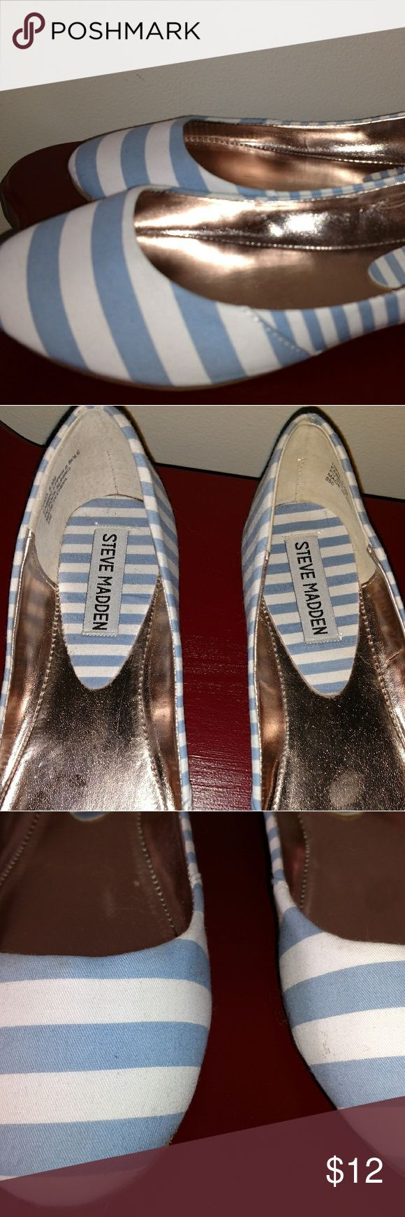 Steve Madden flats blue and white stripe Cute ballet flats with minimal signs of use.  Up close you can see a couple of tiny things but looking down as you wear them they look brand new.  I prefer to describe on the side of caution.  Pet friendly. Steve Madden Shoes Flats & Loafers