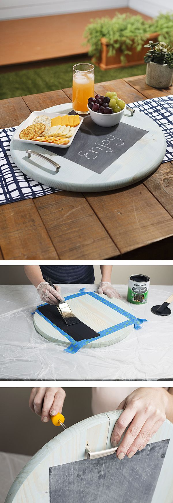 Here's a fun chalkboard paint project. With this chalkboard party tray you can write a party greeting or draw a party-related doodle on it. We have the complete step-by-step tutorial on The Home Depot Blog.