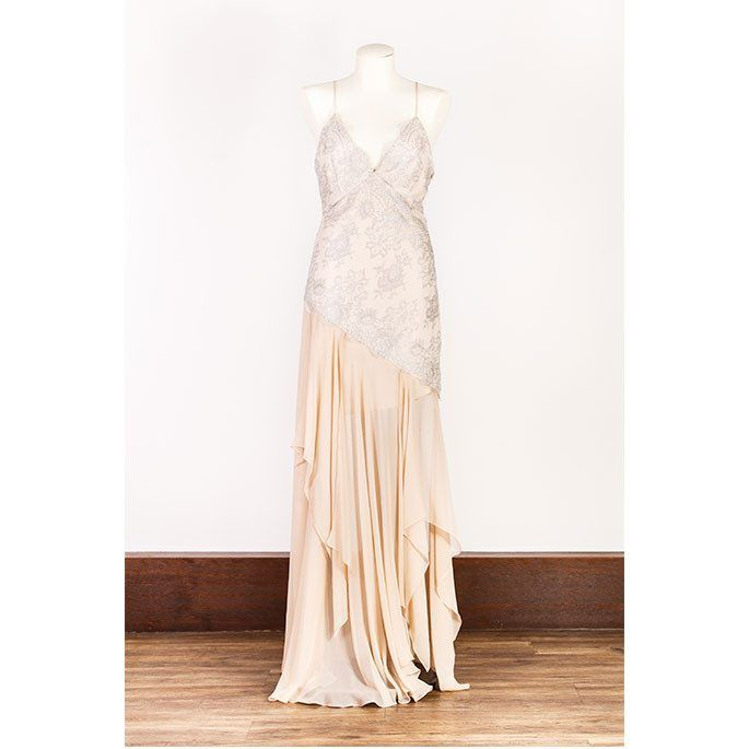 Eileen Kirby - Silver Chantilly Lace Dress With Nude Sz 10