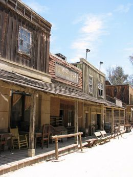 "In Oklahoma, as throughout the ""wild west"", storefronts like these were built up in pioneer towns."