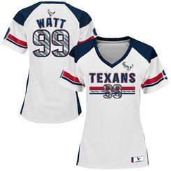 Women's Majestic JJ Watt White Houston Texans Draft Him Fashion V-Neck Top…