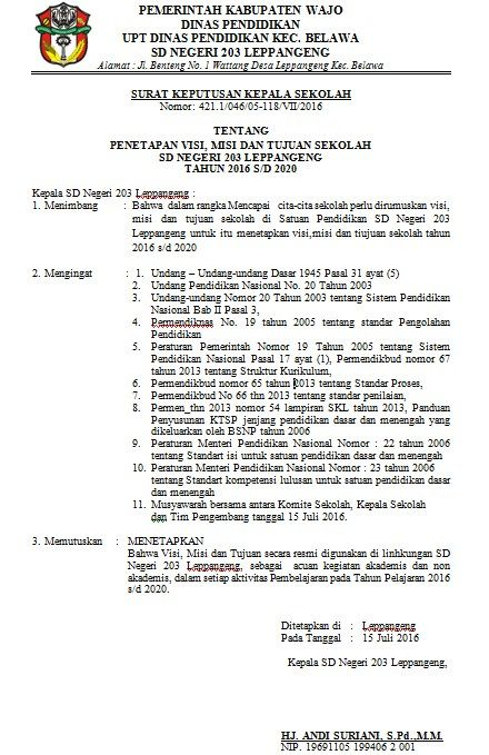 Contoh SK Penetapan Visi Misi dan Tujuan Sekolah Bentuk File Word