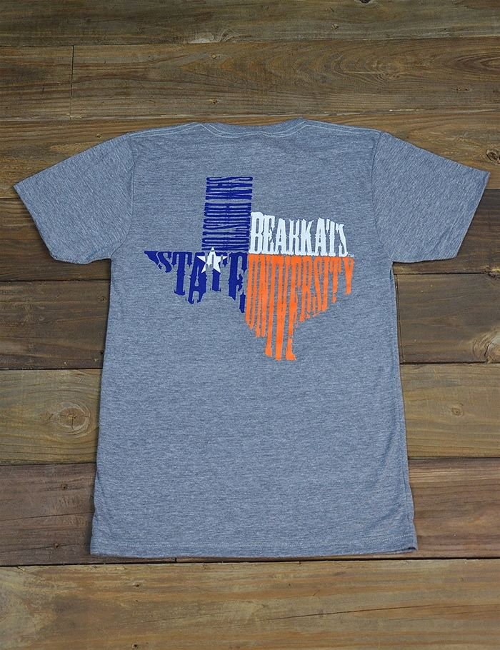 Let Texas and Sam Houston State University shape you! Show your love for both in this new SHSU State Shape t-shirt! Go Bearkats!