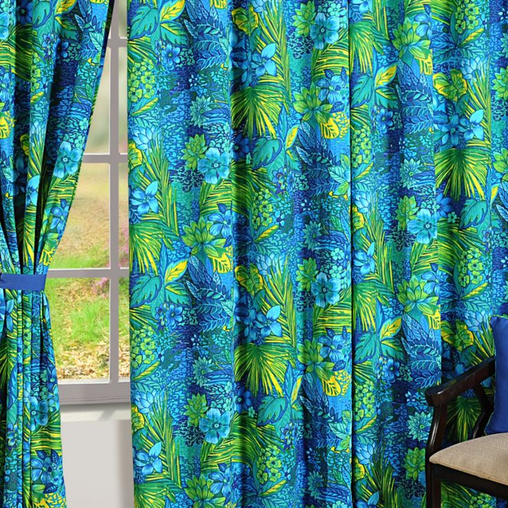 Blue Forest Printed Curtains- 2404