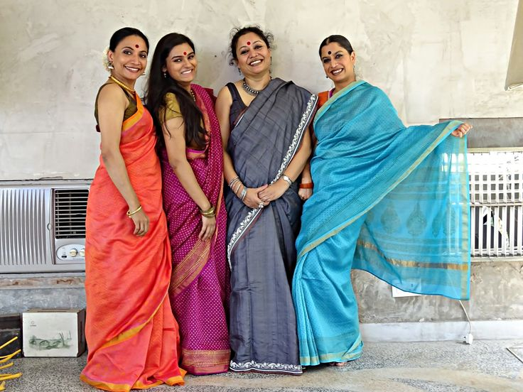 Bijayini, Krithika, Sangeeta and Surupa - Sangeeta in a Tassar Grey silk with Zardozi embroidery