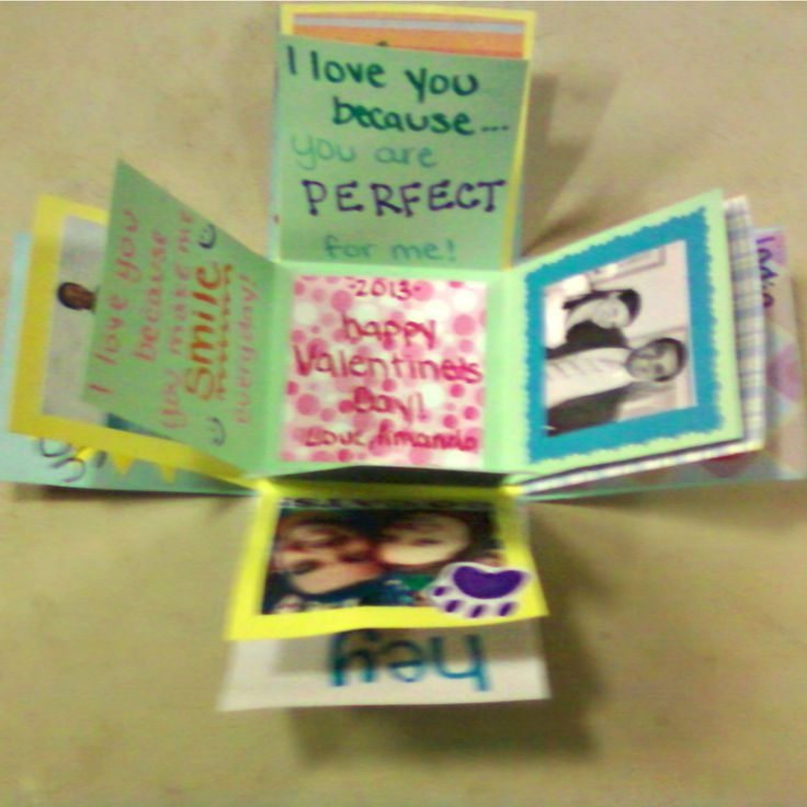 """Exploding love box! (sorry for the blurry pic) I used pictures, quotes, and """"I love you because's"""" then I filled the box with candy. It was a perfect gift for Valentine's Day!"""