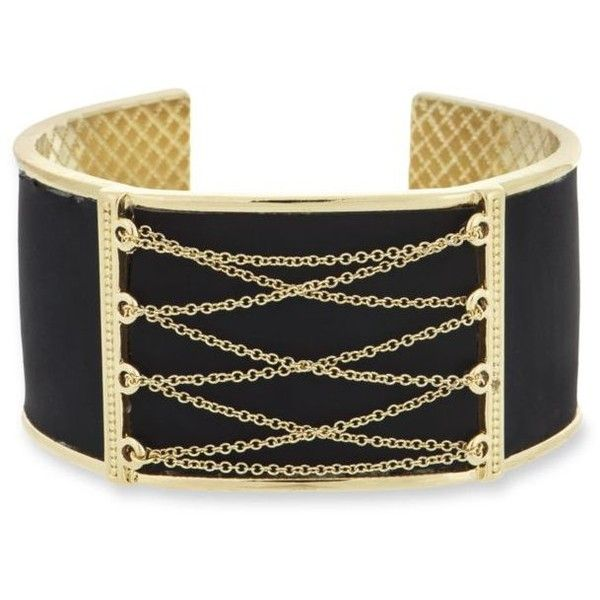 Laundry By Shelli Segal  Gold-Tone Lace Up Inlay Cuff Bracelet ($85) ❤ liked on Polyvore featuring jewelry, bracelets, black, cuff bangle bracelet, cuff bangle, gold colored jewelry, cuff bracelet and goldtone jewelry