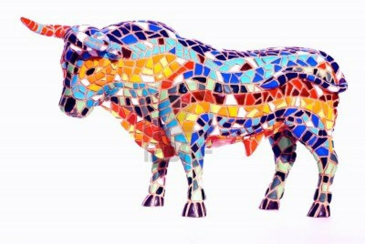 miniature multicolored statue of bull in gaudi style. Black Bedroom Furniture Sets. Home Design Ideas