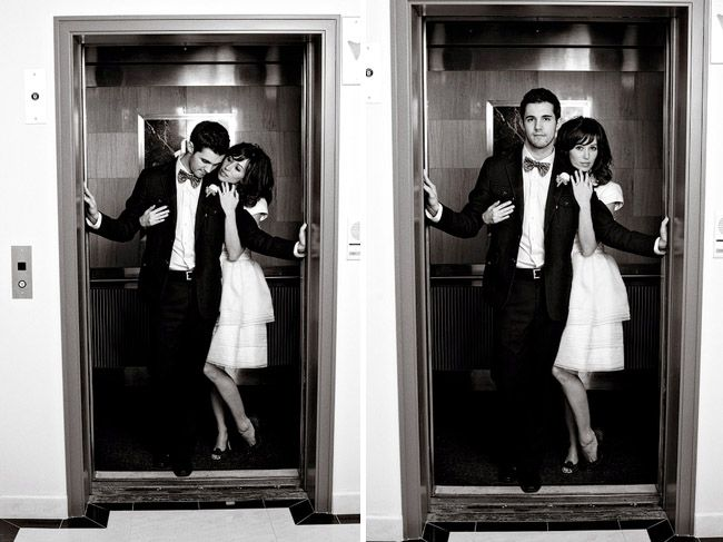Elevator shots, taken right before the bride and groom leave the reception.