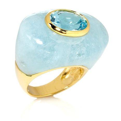 Rarities Gemstone and Blue Topaz Vermeil Ring