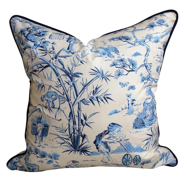 Navy & Ivory Toile Chintz Cushion