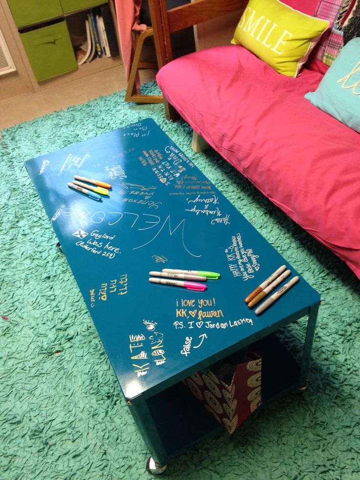 Our Coffee Table. Made Of Metal, Our Friends Sign When They Come To Visit.  A Great Memento Of Our Dorm Life At UGA! Part 59