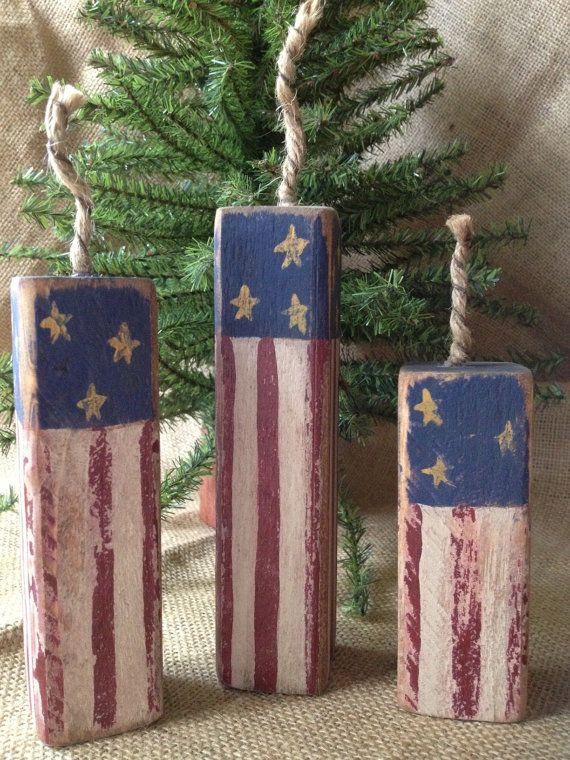 Primitive Americana Patriotic Stars & Stripes Firecrackers Fireworks 4th of July Shelf Sitter Blocks OOAK on Etsy, $16.99