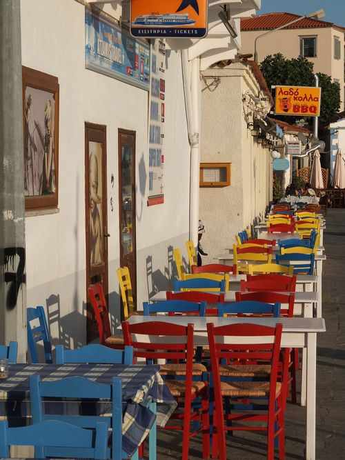 Lemnos island, Greece a colourfull tavern by the sea