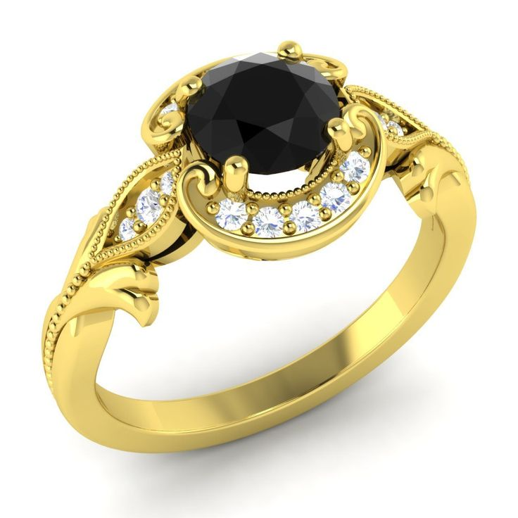 Certified Round Black & SI Diamond Halo Engagement Ring For Women Jewelry | eBay