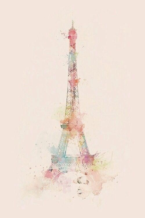 Fondo de Torre Eiffel. En acuarela...