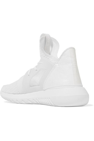 adidas Originals - Tubular Defiant Faux Leather-trimmed Stretch-knit Sneakers - White - US7.5