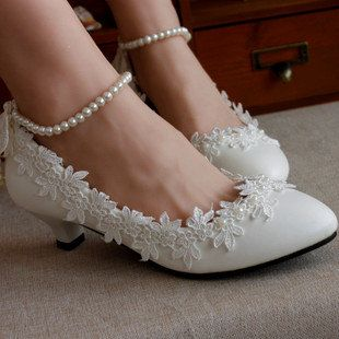 White Lace and Pearl Wedding Shoes: Lace Bridal Shoes, White Wedding Shoes - Flat, Low Heel, Mid Heel, or High Heel with White Pearls & Lace