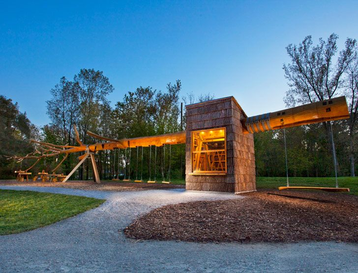 Chop Stick: Visiondivision Unveils Swing Set and Visitor Kiosk Made From a Single 100-Foot-Tall Tree