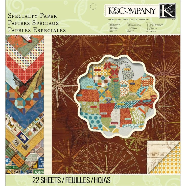 """K&Company Travel Specialty Paper Pad 12""""X12"""" 22/Sheets-"""