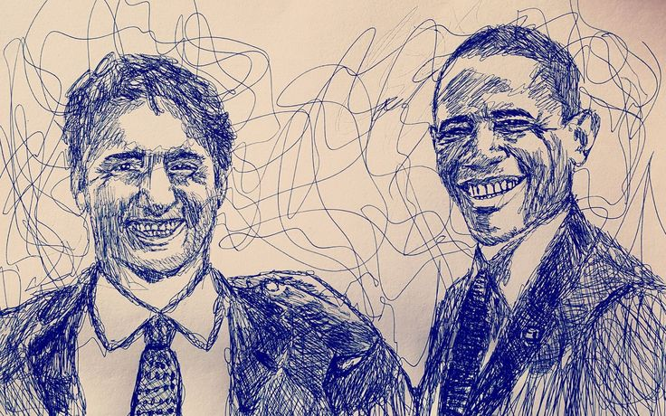 Scribble Portrait of Obama and Trudeau