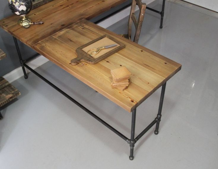 L Shaped Reclaimed Wood Corner Desk Top Surface And Cast