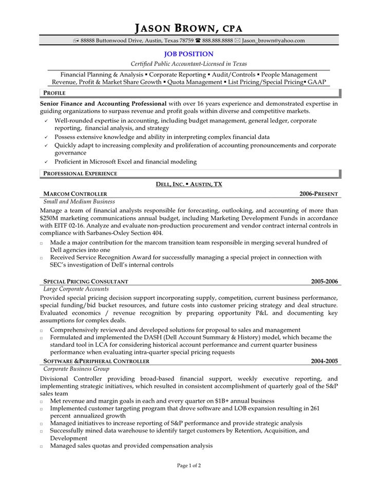 cpa resume format