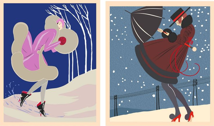art deco images winter | design graphic vector art digital painting