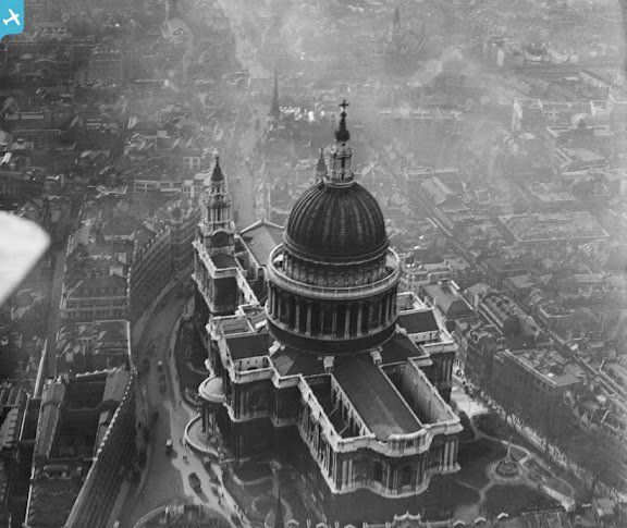 St Paul's Cathedral, London. March 1921. A batch of more than 15,000 stunning images showing Britain from above have been released by English Heritage. The pictures, which came close to being lost because they are so old and fragile, come from the Aerofilms Collection- an archive of more than a million aerial photographs taken between 1919 and 2006