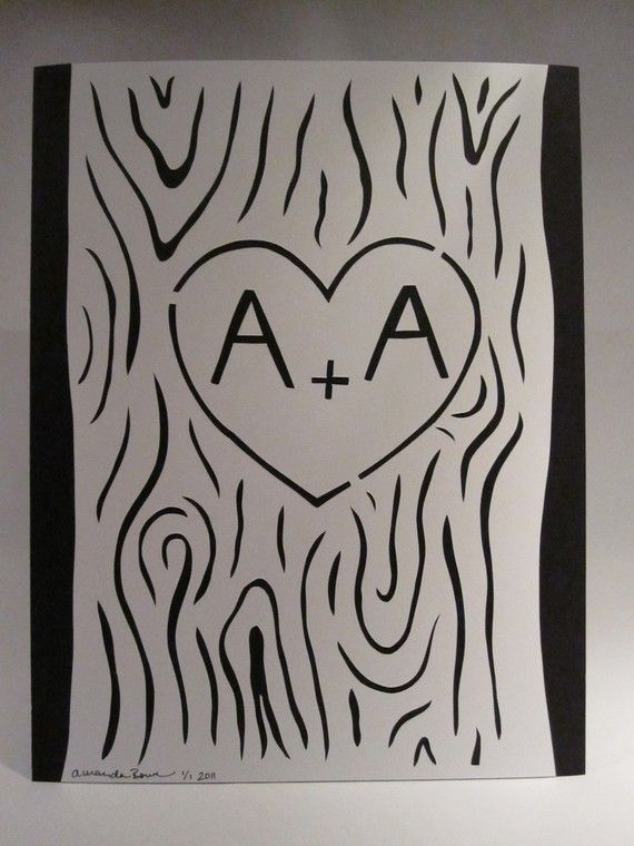 initials carved in a tree - too cute! The artist hand cuts the heavy white cardstock and layers over a solid color. Totally doable DIY
