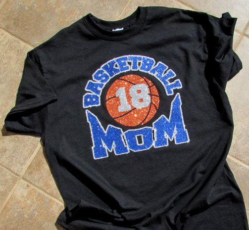 BASKETBALL Mom Black Glitter Bling T-Shirt with by BonnieJBoutique