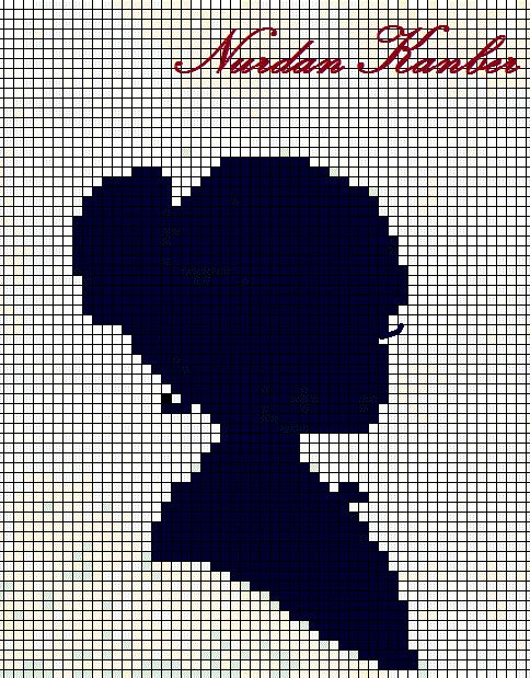 0 point de croix monochrome profil de fille - cross stitch portrait side girl