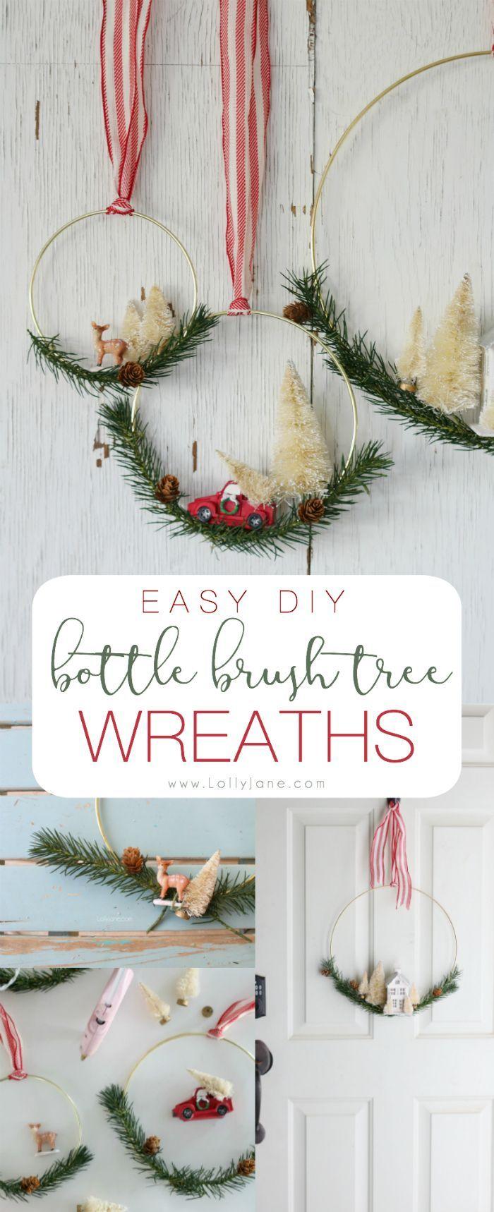 diy bottle brush tree Christmas wreath 28