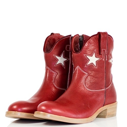 Red short cowboy boots for girls by Zecchino d'Oro