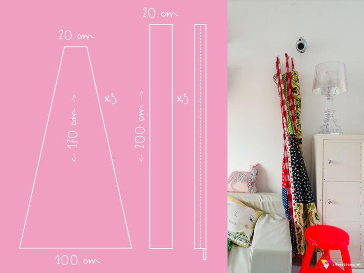 Nodig: 5 bamboe-stokken van 210 cm lang. Ik kocht de onze bij de Boerenbond/Welkoop. (ook te koop bij elk ander tuincentrum) Paar meter stof...