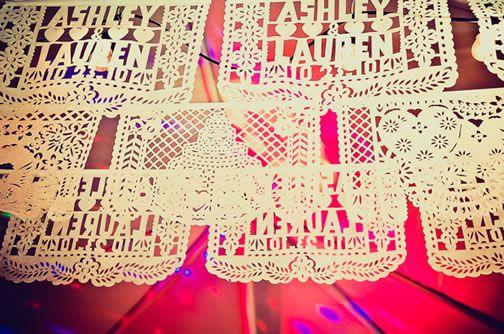 Ashley & Lauren's custom wedding papel picado