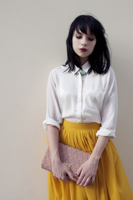 Yellow Pleated Skirt: Danny Rose, Clothing Ideas, Mustard Color, Yellow Pleated, Black Hair, White Shirts, Yellow Skirts, Dark Lips, Pleated Skirts