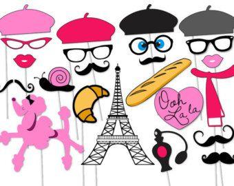 París Photo booth Props Seleciona 23 pieza por TheQuirkyQuail