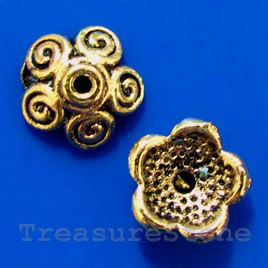 Bead cap, antiqued gold-finished, 11x4mm. #TreasureStone Beads Edmonton. www.TreasureStoneBeads.com
