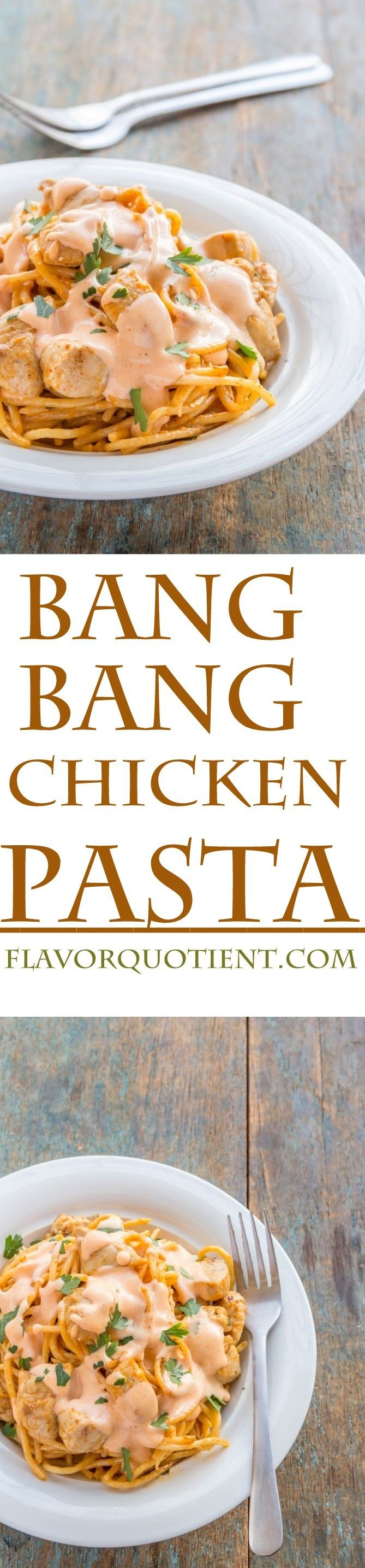 This bang bang chicken pasta is childishly easy to make but substantially high on taste! The addictive bang bang sauce gives an ultimate make-over to the humble chicken pasta. #BangBangChickenPasta #BangBangPasta #ChickenPasta #SPaghetti #PastaRecipes #BangBangSauce #ItalianRecipes #ItalianCuisines #FlavorQuotient