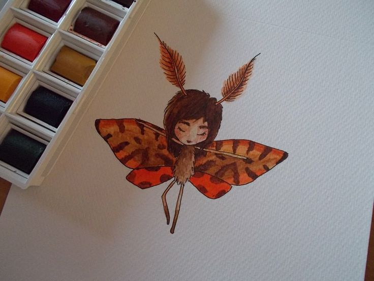 Moth Girl - a quick aquarell painting TITIRI